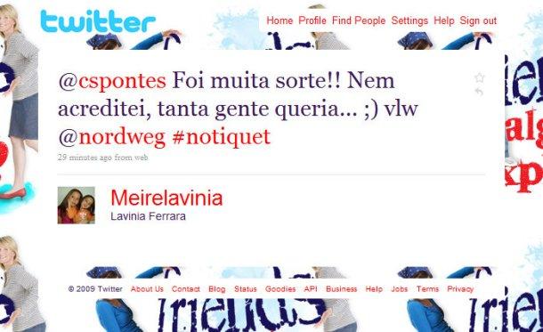 Twitter  Lavinia Ferrara @cspontes Foi muita sorte! ... - Google Chrome 22102009 141835