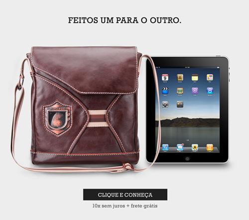 Bolsa pasta de couro para iPad